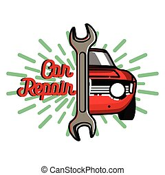 Color vintage Car repair emblem. Service off road suv car,...