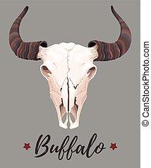 Illustration of buffalo skull - Vector illustration of high...