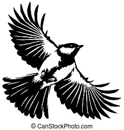 black and white linear paint draw tit bird illustration -...