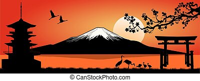 Mount Fuji at sunset - Silhouette Fuji mountain at sunset...