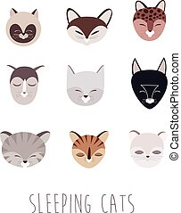 Set of Sleeping Cats - Vector Set of Sleeping Cat Heads....