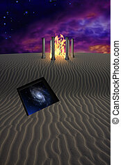 Enter - Fire temple in desert with opening in the sands