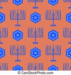 Blue David Star Menorah Seamless Background - Blue David...