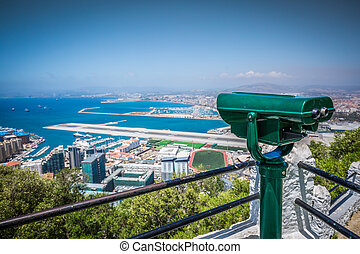 an aerial view of Gibraltar, its marina and the...
