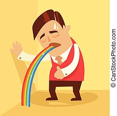 Comic man character pukes rainbow Vector flat cartoon...