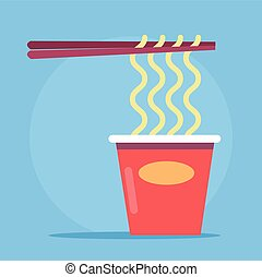 Noodles in cardboard packaging. Vector flat cartoon...