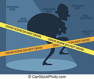 Thief character with bag of money Crime scene Vector flat...