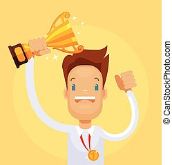 Businessman winner character hold gold cup. Vector flat...
