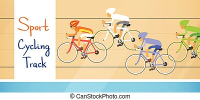 Cycle Racing Athlete Competition Sport Racetrack Flat Vector...