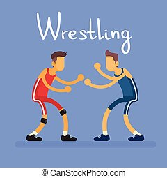 Wrestling Two Wrestler Opponent Sport Competition Flat...