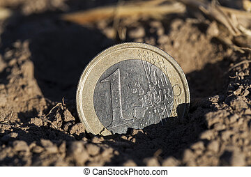 coin on the ground - photographed close-up of a European...
