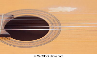 Classical guitar on white background