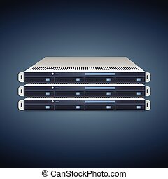 Modern Server Units - Vector Flat Illustration of a Three...