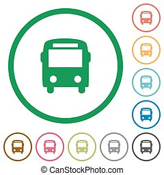 Bus outlined flat icons - Set of bus color round outlined...