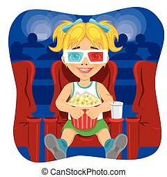 little girl with 3d glasses holding popcorn sitting on chair in cinema