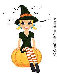Halloween with a cute witch sitting on pumpkin