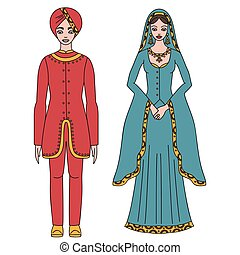 Traditional turkish clothing, national middle east cloth, man and woman sultan costume isolated, turkish dress