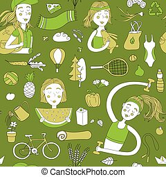 Healthy lifestyle pattern green