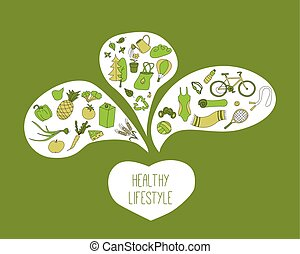 Healthy lifestyle objects. Green background.