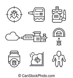 Set line icons of disinfestations isolated on white Vector...