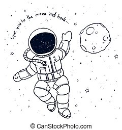 Vector Astronaut Doodle - Vector Illustration of a Hand...