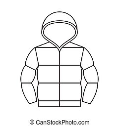 Vector duvet jacket with hood,thin line