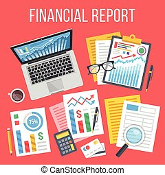Financial report flat concept. Business icons, elements set....