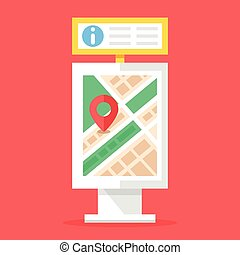 Information board and city map stand Flat design vector...