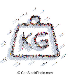weight shape people 3D rendering - Large and creative group...