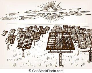 Solar power plant sketch vector illustration