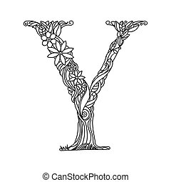 Letter Y coloring book for adults vector - Floral alphabet...