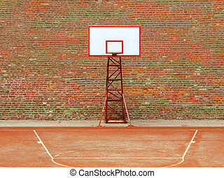 Basketball Court - basketball hoop and a cage with laeves,...