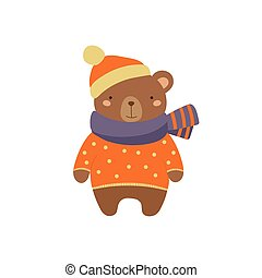 Brown Bear In Polka-dotted Sweater Childish Illustration