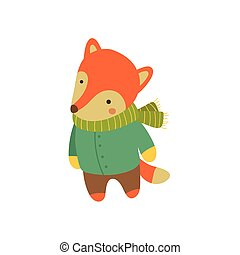 Fox In Green Warm Coat Childish Illustration - Fox In Green...
