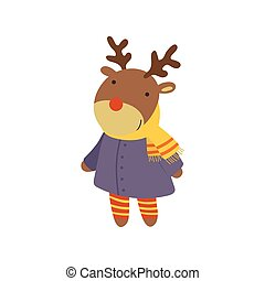 Girl Deer In Blue Warm Coat Childish Illustration - Girl...