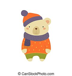 White Bear In Polka-dotted Sweater Childish Illustration