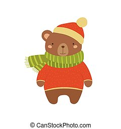Brown Bear In Red Sweater Childish Illustration