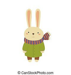 Rabbit In Green Warm Coat Childish Illustration - Rabbit In...