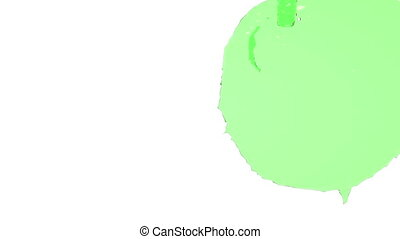 flow of green fluid fills the screen Isolated on white...