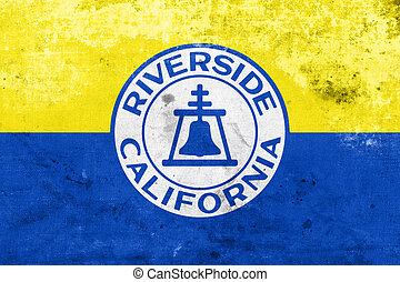 Flag of Riverside, California, USA, with a vintage and old look