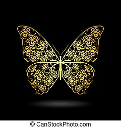 Yellow butterfly with floral pattern.