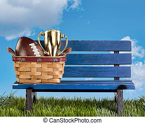 Park bench football and awards. - Blue park bench with...