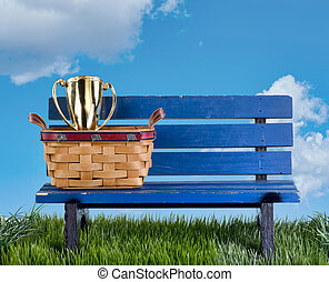 Park bench awards - Blue park bench with handmade basket and...