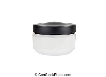 White cream can - Cane with a face cream, isolated on white...