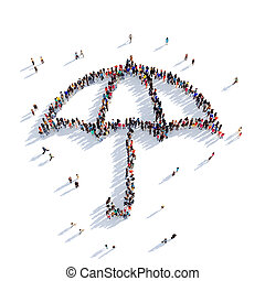 umbrella people 3D rendering - Large and creative group of...