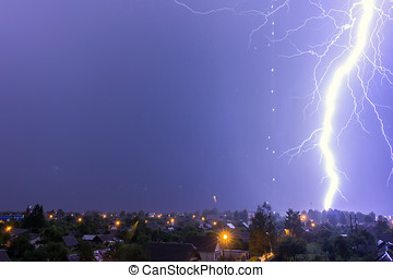 This lightning over the city