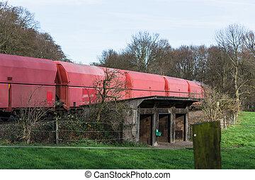 Long Railway freight train when passing