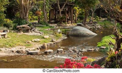River flows thru the jungle in Thailand resort
