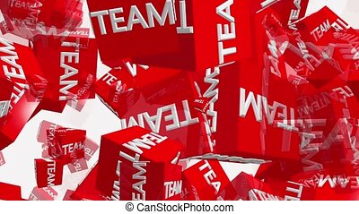 Flying red cubes with inscription TEAM in white