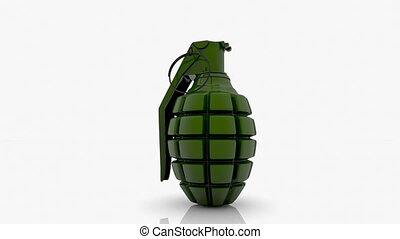 Rotating hand grenade in green on w